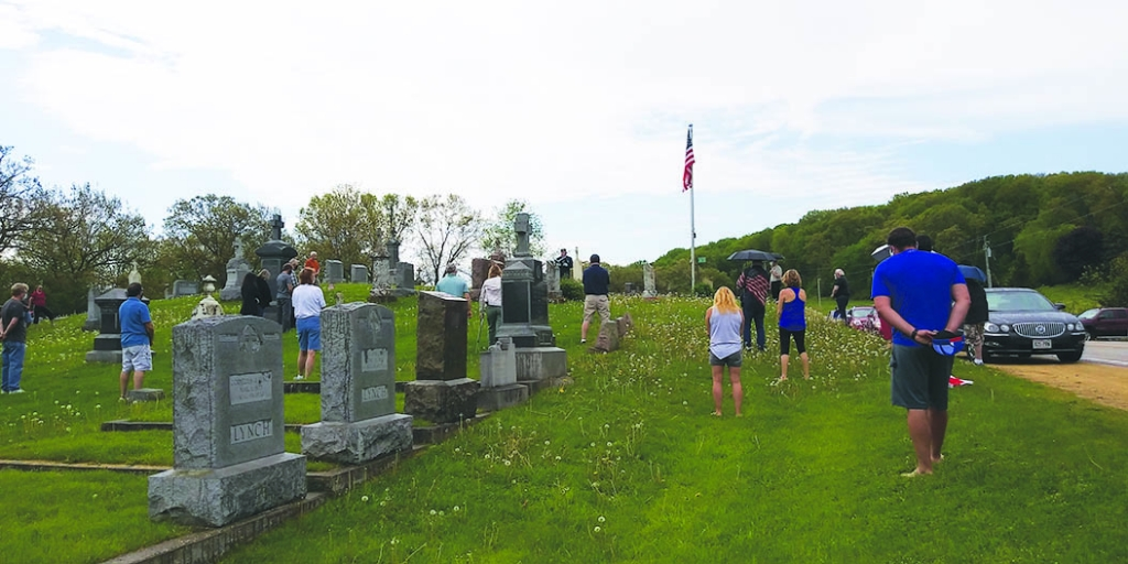 Chaplain Bill Rettenmund leading the Memorial Day service at St. James Cemetery for American Legion Post 313 Black Earth.