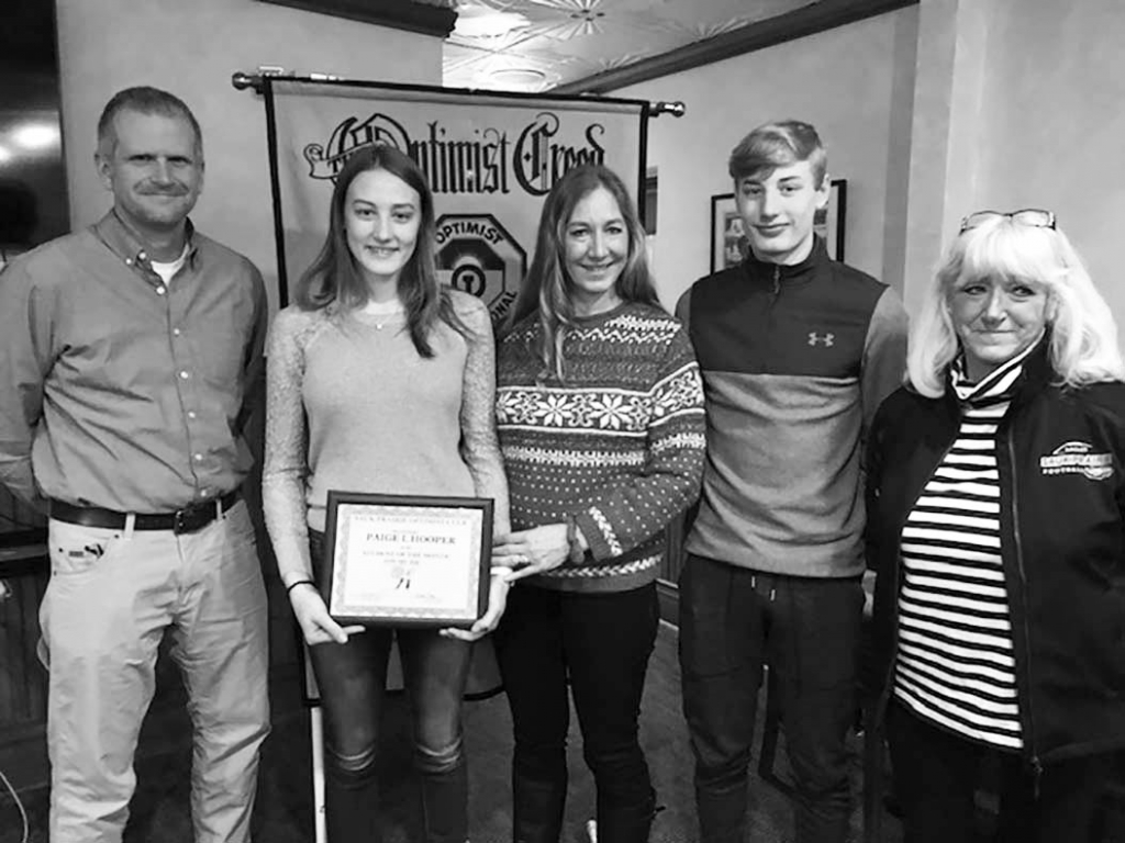 Paige Hooper, the daughter of Shelly and Chuck Hooper, has been selected by SPHS as the Optimist January Student of the Month.According to Chad...