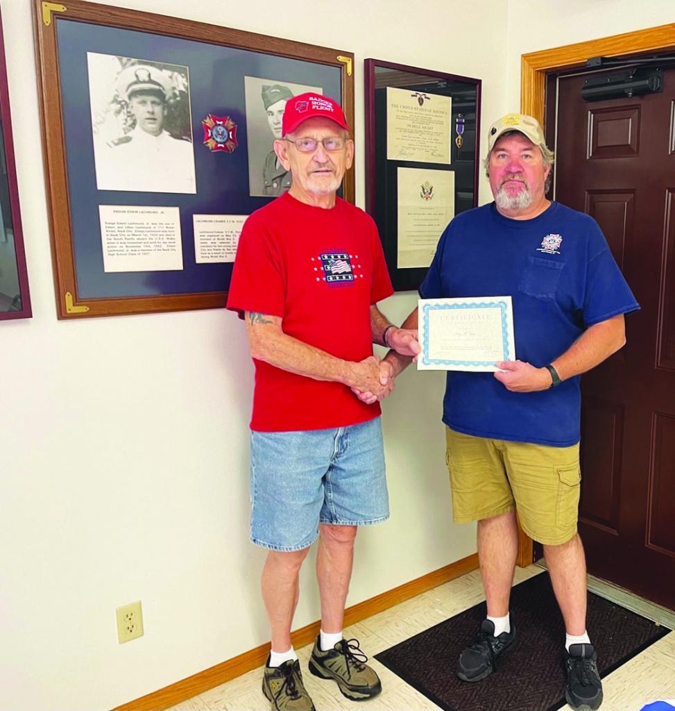 Pictured above, on September 18, Kevin Krohn, the present Post Commander of the Sauk Prairie Veterans of Foreign Wars Lachmund-Cramer Post 7694,...